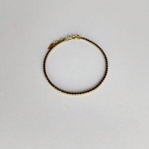 צמיד זהב טניס שיבוץ זרקונים שחורים