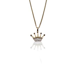 שרשרת זהב עם תליון כתר דגם WP695