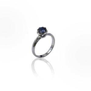 טבעת זהב לבן עם ספיר דגם BR883