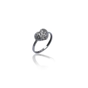טבעת זהב לבן לב חיתוך לייזר דגם WR330