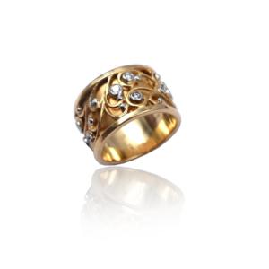 טבעת זהב עם יהלומים בעיצוב מיוחד דגם WBR1129