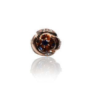 טבעת זהב עם ספיר ויהלומים דגם WB527