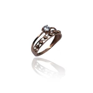 טבעת זהב כפולה מעוצבת דגם WR725