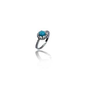 טבעת זהב עם אבן טורכיז דגם WR862