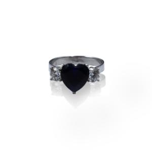 טבעת זהב מרשימה עם יהלומים וספיר דגם BR865