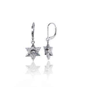 Серебряные серьги модель «звезда Давида» SE1015