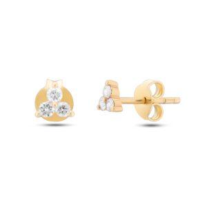עגילי זהב עדינות עם יהלומים דגם ED1064